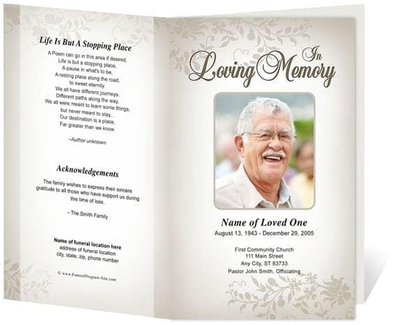 Captivating Free Funeral Program Sample 7941  Free Printable Funeral Programs Templates