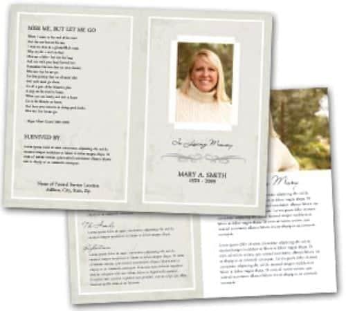 Free Funeral Program Sample 8964  Memorial Program Templates Free