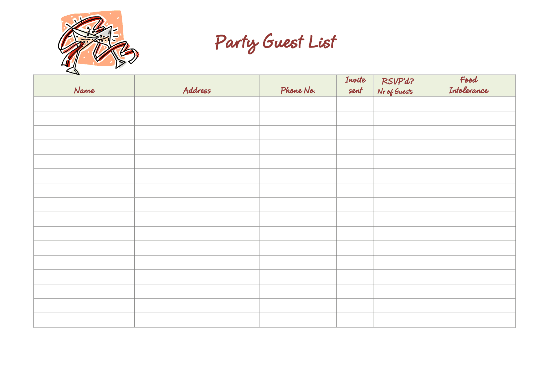 Delightful Guest List Example 15.7491