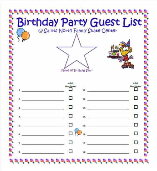 41 free guest list templates word excel pdf formats