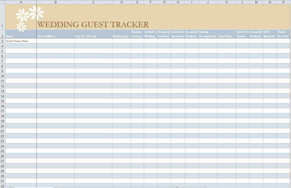 template for guest list