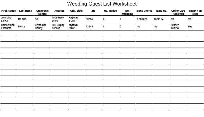 41 Free Guest List Templates Word Excel PDF Formats – Wedding Guest Planning
