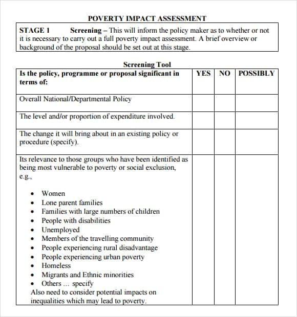 impact assessment template 9741