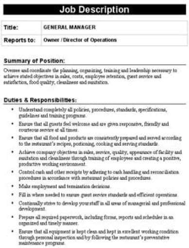 19 free job description templates in word excel pdf for Free job description template
