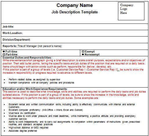 word job description template
