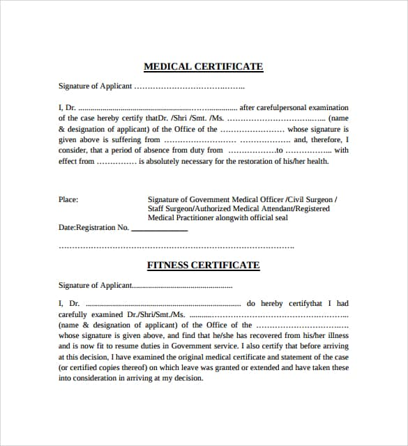 21+ Free Medical Certificate Template - Word Excel Formats
