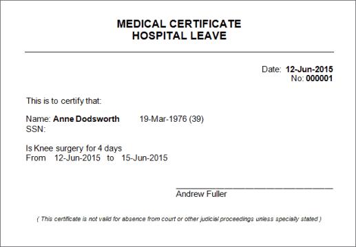 medical certificaet example 1641
