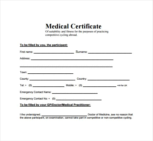 Sample Medical Certificate Format For Sick Leave Sivandearest
