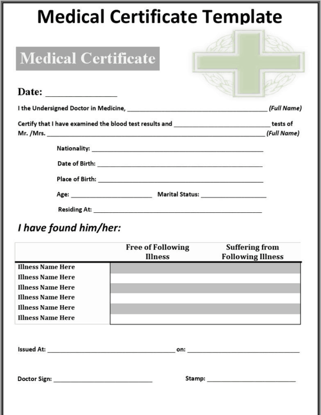 medical certificaet template 59741
