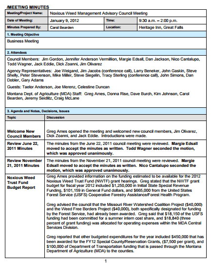 business meeting notes template