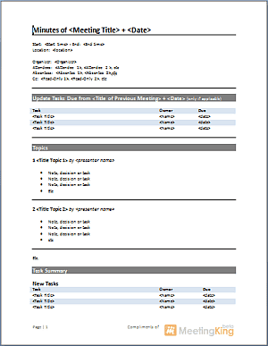 21+ Free Meeting Minutes Template - Word Excel Formats