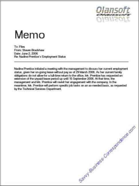 memo sample 746