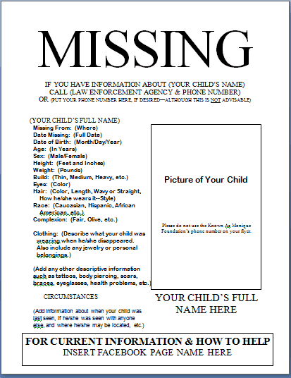 Missing Poster 2461  Missing Flyer Template