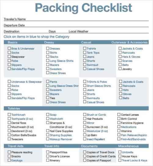 packing list sample 8741