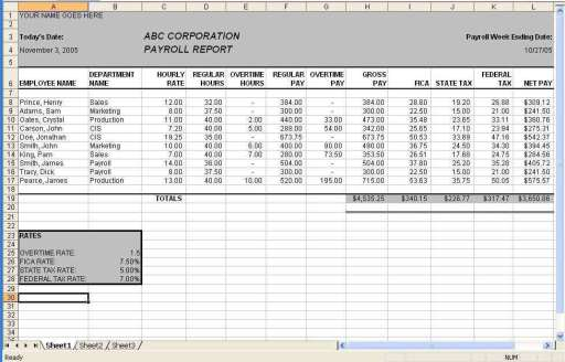 payroll report template excel