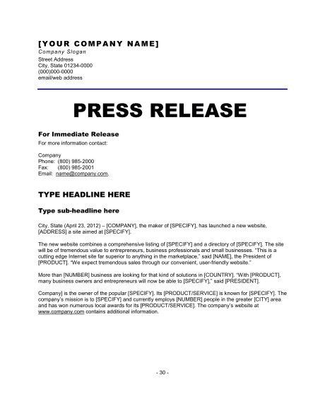 format press release sample