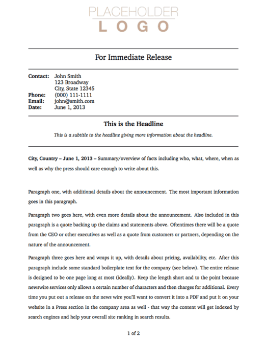 press release sample 4941