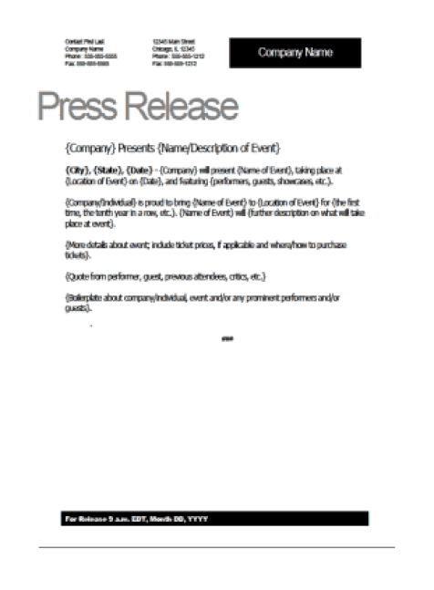 press release sample 541