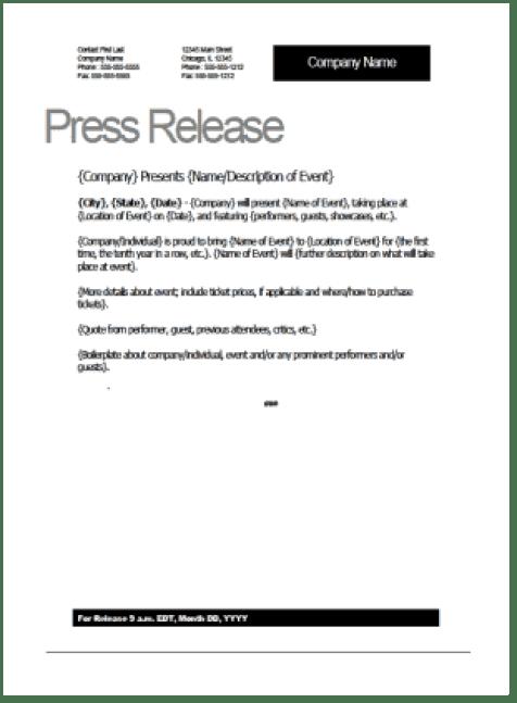 press release sample 541