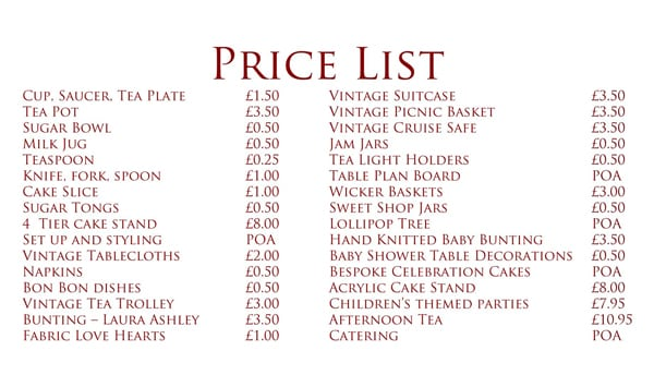 cleaning price list template