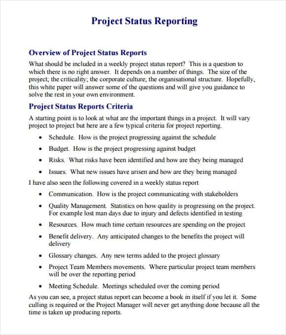 Sample weekly report 21 free project report template word status report sample it status report template executive status pronofoot35fo Images