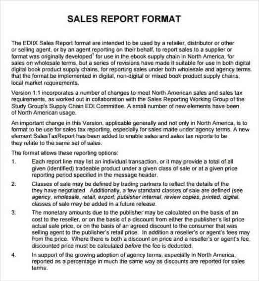sales report sample 4961