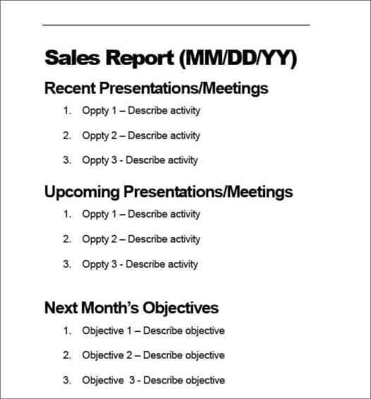 Free Sales Report Template  Word Excel Formats