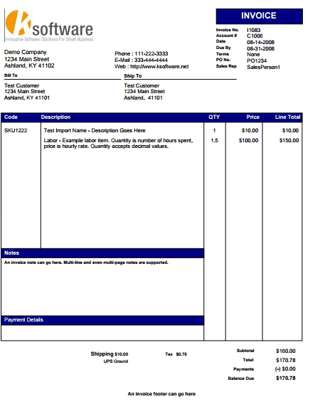 sample service invoice