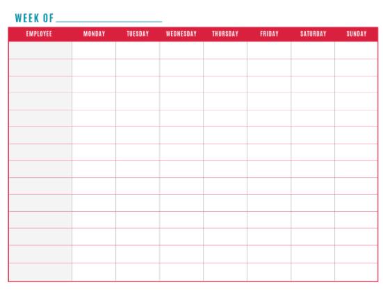 weekly schedule sample 21.46