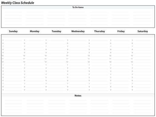 weekly schedule sample 341