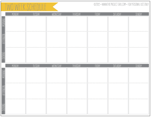 weekly schedule sample 5941