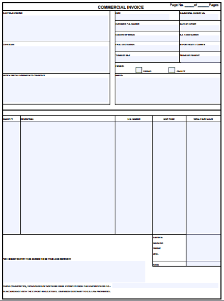 Commercial Invoice Template 1461