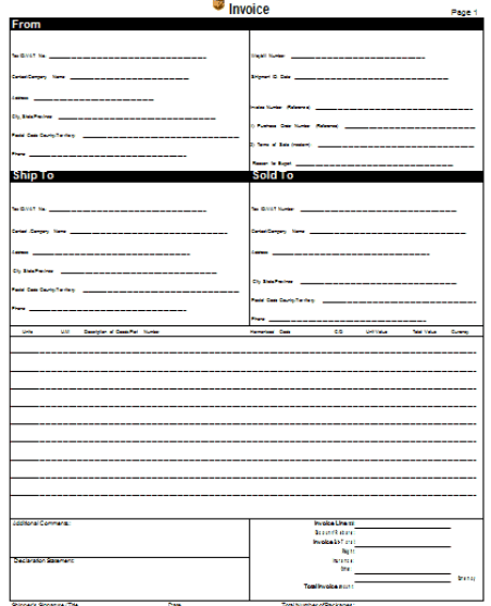 Commercial Invoice Template 4941