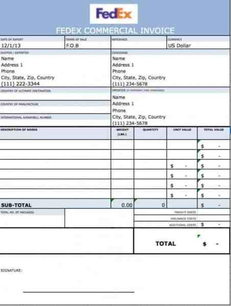 Free Commercial Invoice Template  Word Excel Formats