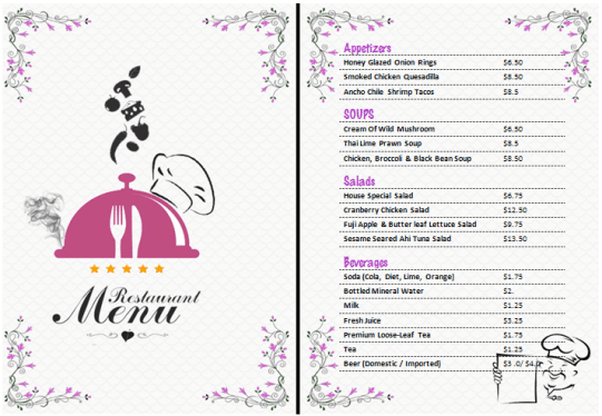 Free Restaurant Menu Templates 59641