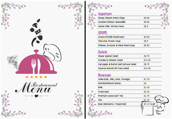 menu template word free resumetrends tk