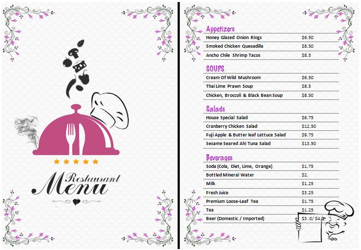 Free Restaurant Menu Templates 59641  Menu Template Word Free