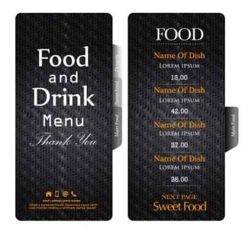 free food menu template
