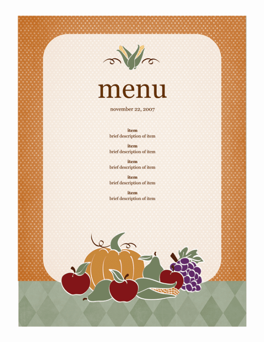 Free Restaurant Menu sample 4941