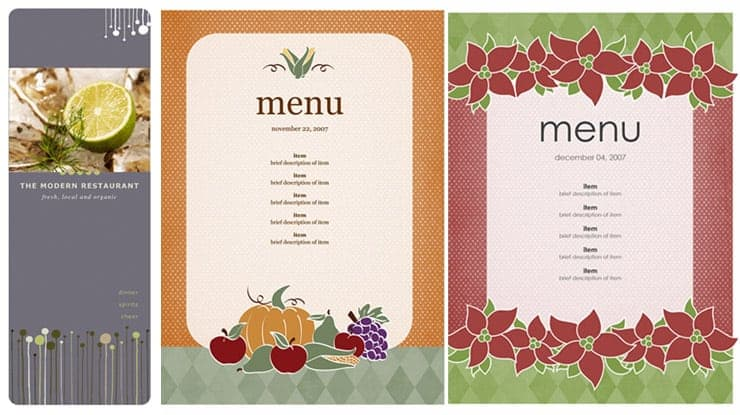 Beautiful Free Restaurant Menu Sample 69641  Free Restaurant Menu Template Word