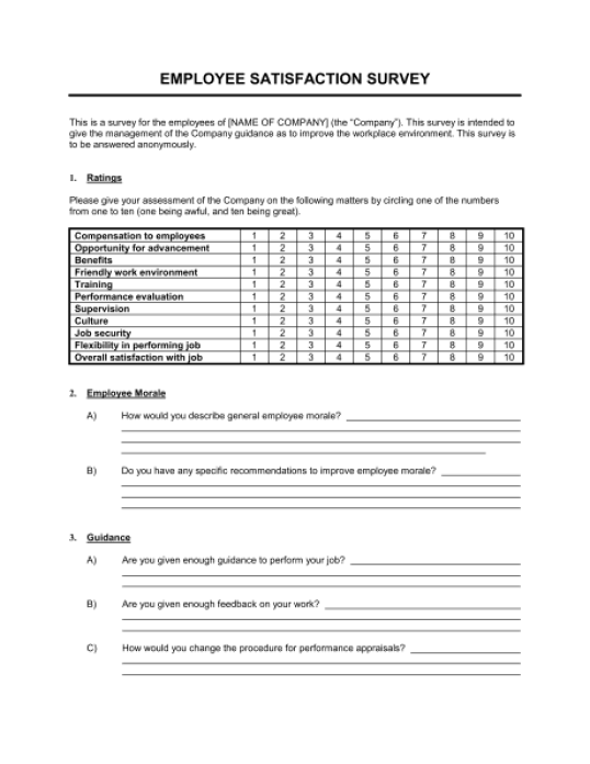 job satisfaction questionnaire sample