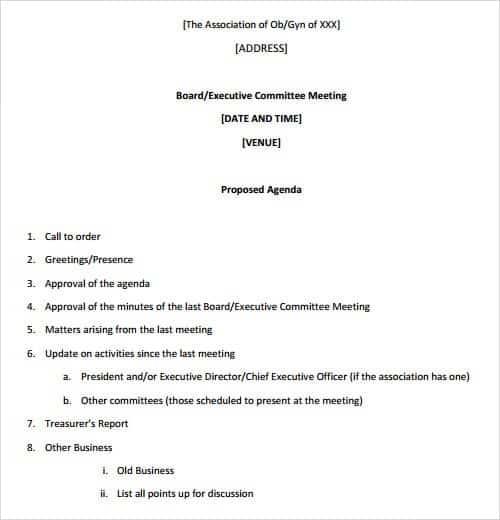 Agenda Formats. Board Meeting Agenda Format 26+ Agenda Format ...
