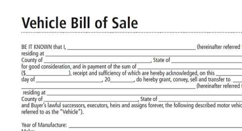 Free Bill Of Sale Template  Word Excel Formats