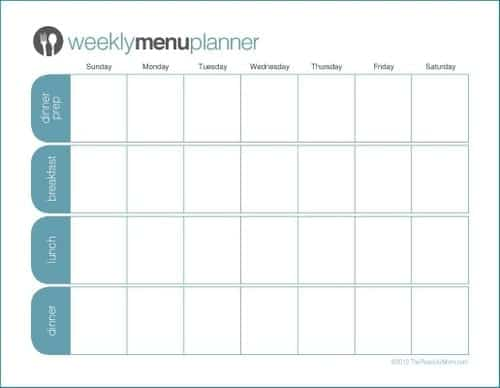 21 Free Menu Planner Template Word Excel Formats – Menu Planner Templates