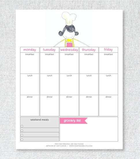 menu planner sample