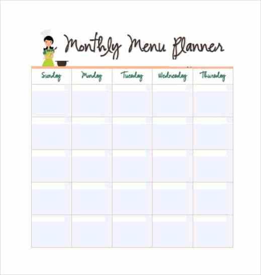 menu planner template 2641