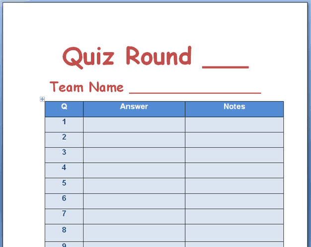 quiz templates word