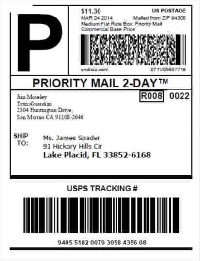 shipping label sample 10.461