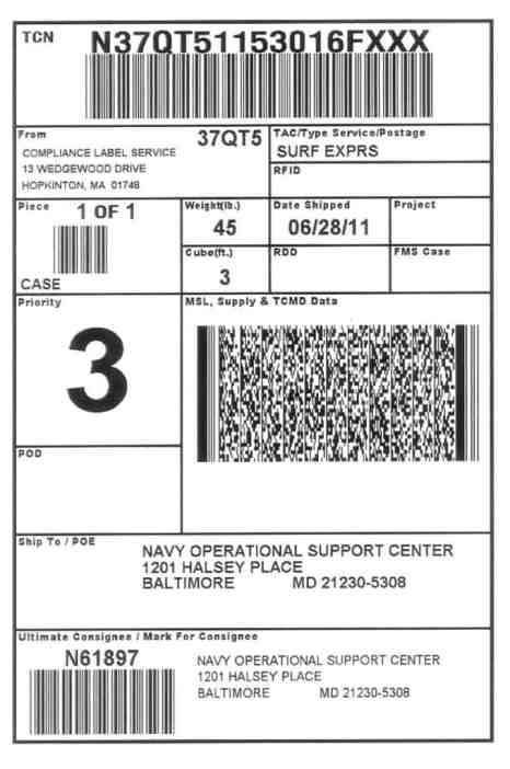 shipping label template 2641