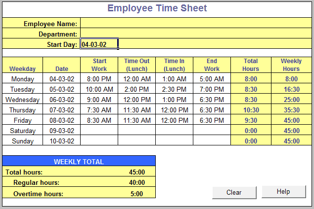 time sheet template 141